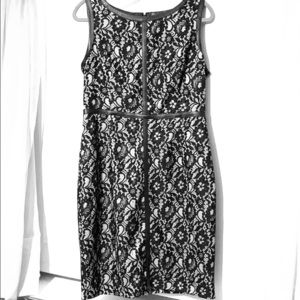Calvin Klein Lace and Leather-like Sheath Dress